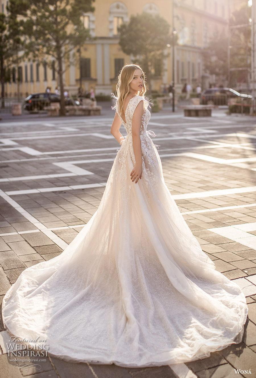 wona 2020 couture bridal cap sleeves deep v neck heavily embellished bodice romantic a  line wedding dress backless v back chapel train (11) bv