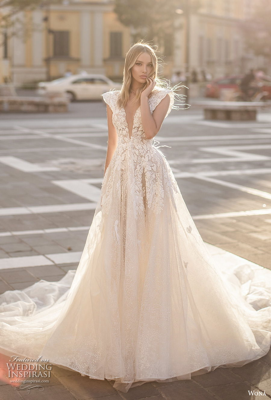 wona 2020 couture bridal cap sleeves deep v neck heavily embellished bodice romantic a  line wedding dress backless v back chapel train (11) mv