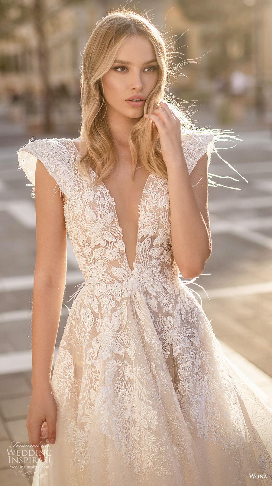 wona 2020 couture bridal cap sleeves deep v neck heavily embellished bodice romantic a  line wedding dress backless v back chapel train (11) zv