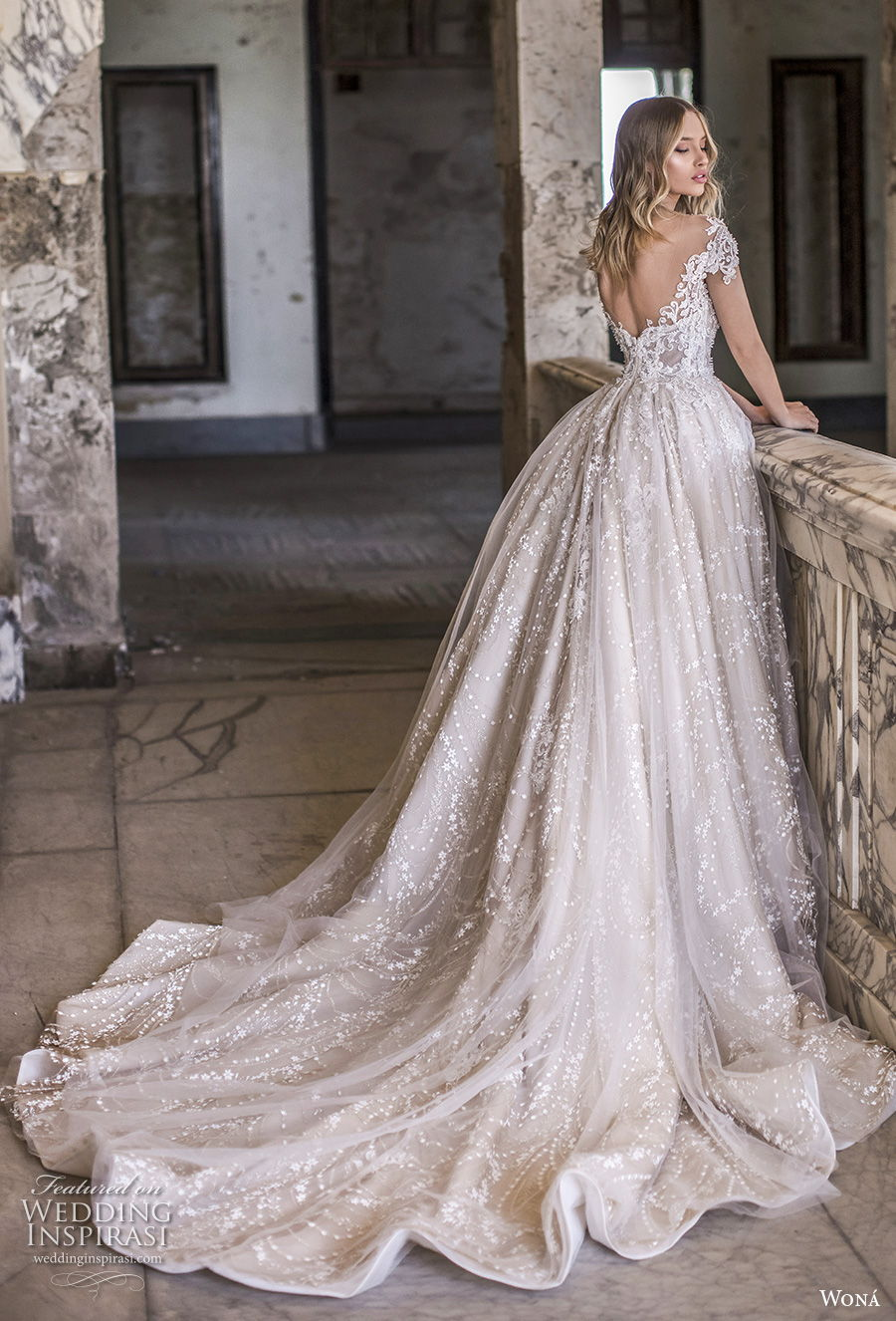 wona 2020 couture bridal cap sleeves sweetheart neckline full embellishment romantic princess ball gown a  line wedding dress backless chapel train (2) bv