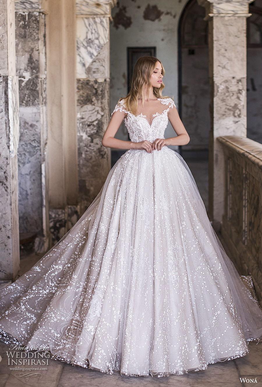 wona 2020 couture bridal cap sleeves sweetheart neckline full embellishment romantic princess ball gown a  line wedding dress backless chapel train (2) mv