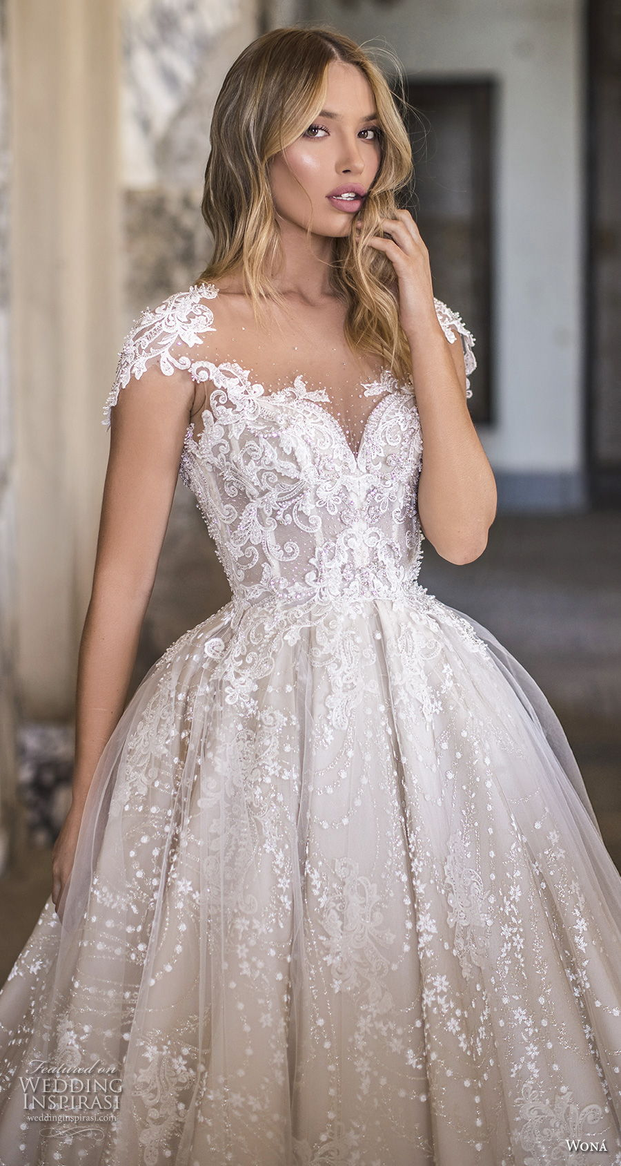 wona 2020 couture bridal cap sleeves sweetheart neckline full embellishment romantic princess ball gown a  line wedding dress backless chapel train (2) zv