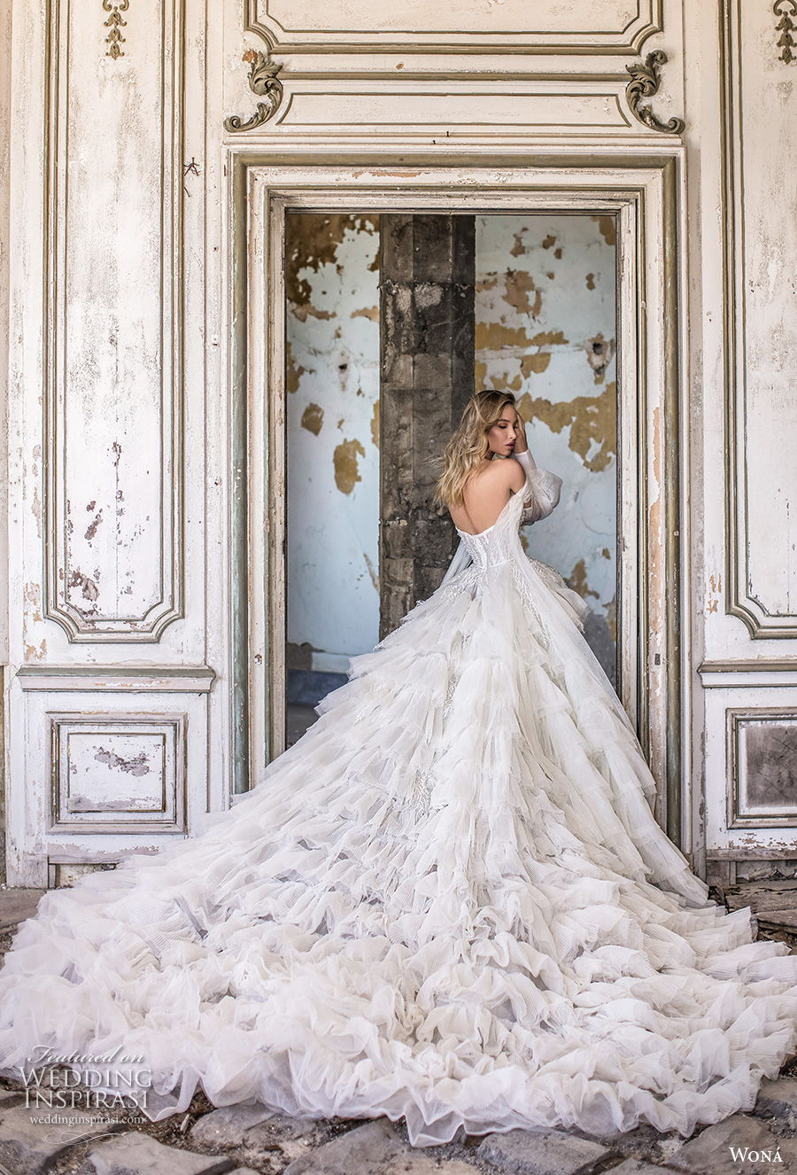 wona 2020 couture bridal long bishop sleeves off the shoulder sweetheart neckline heavily embellished bodice tiered skirt ball gown a  line wedding dress mid back royal train (14) bv