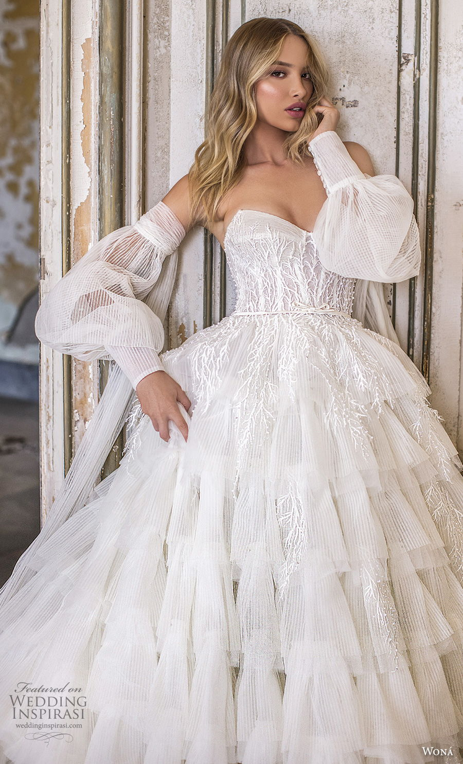 wona 2020 couture bridal long bishop sleeves off the shoulder sweetheart neckline heavily embellished bodice tiered skirt ball gown a  line wedding dress mid back royal train (14) zv