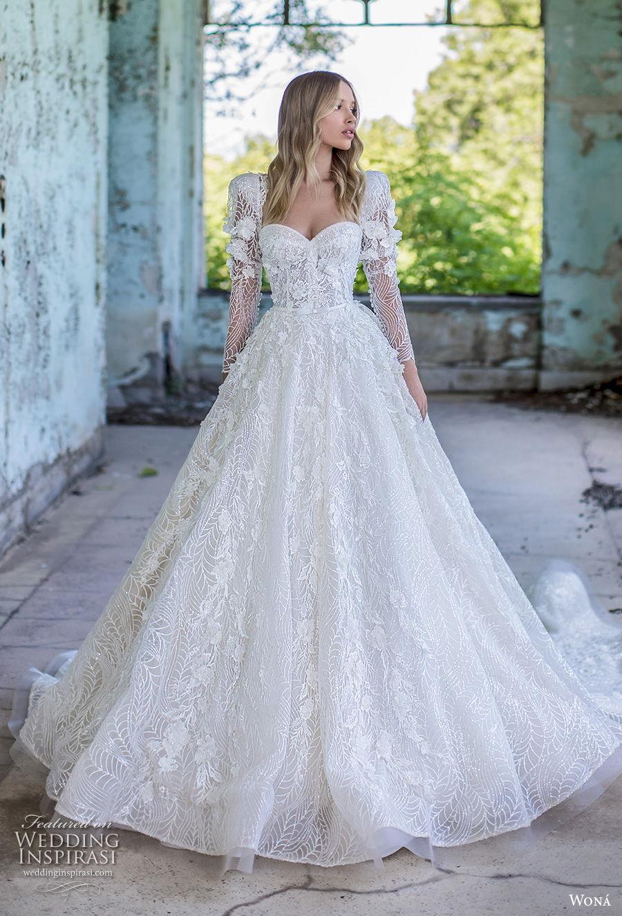 wona 2020 couture bridal long puff sleeves sweetheart neckline full embellishment princess romantic a  line wedding dress mid back royal train (8) mv