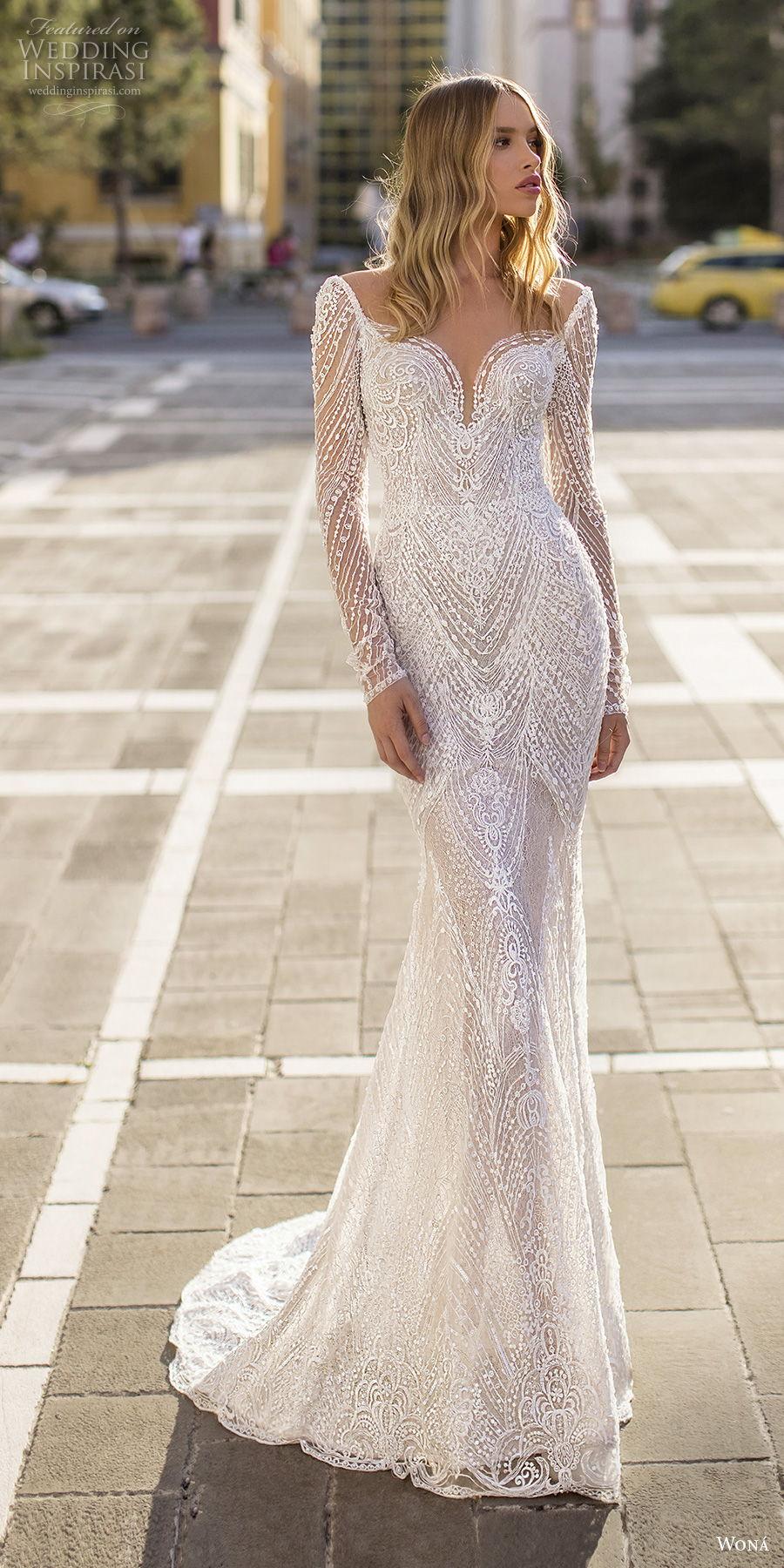 wona 2020 couture bridal long sleeves deep sweetheart neckline full embellishment elegant fit and flare sheath wedding dress backless scoop back chapel train (12) mv
