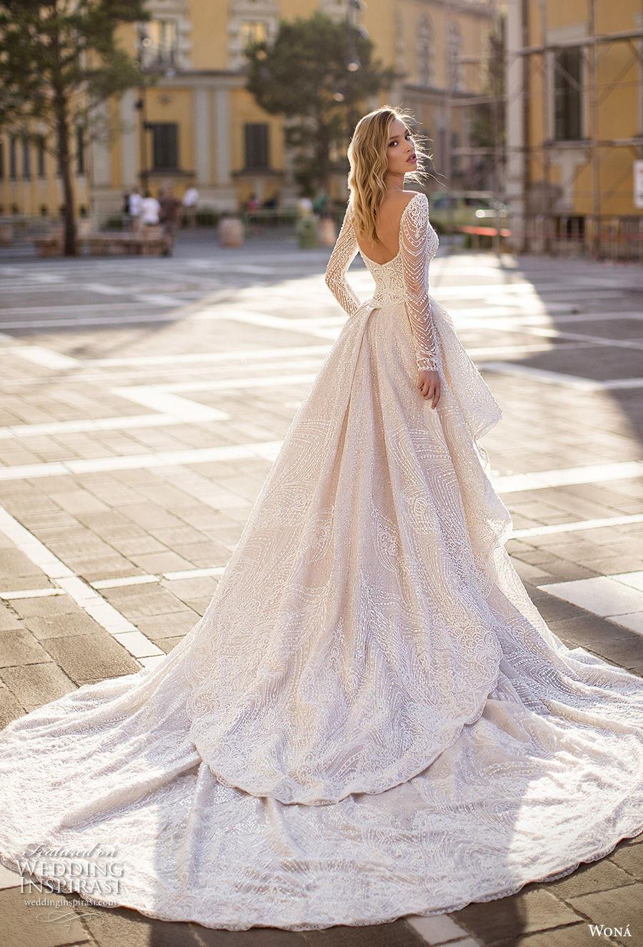 wona 2020 couture bridal long sleeves deep sweetheart neckline full embellishment elegant glamorous fit and flare sheath wedding dress a  line overskirt backless scoop back chapel train (12) bv