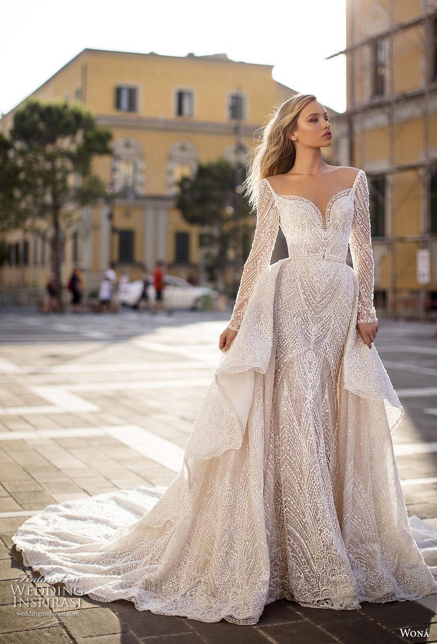 wona 2020 couture bridal long sleeves deep sweetheart neckline full embellishment elegant glamorous fit and flare sheath wedding dress a  line overskirt backless scoop back chapel train (12) mv