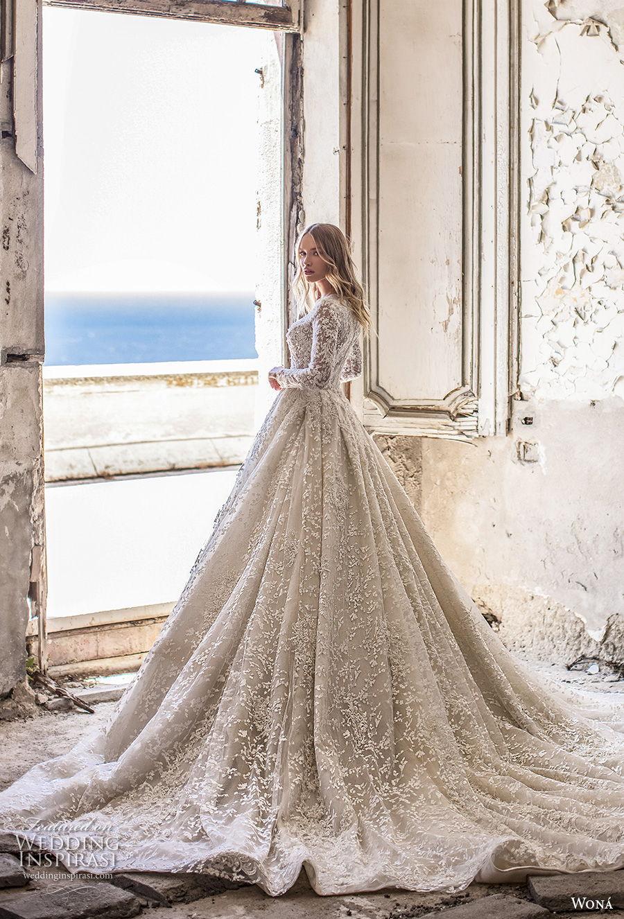 wona 2020 couture bridal long sleeves deep sweetheart neckline full embellishment glamorous princess ball gown a  line wedding dress covered back chapel train (3) bv