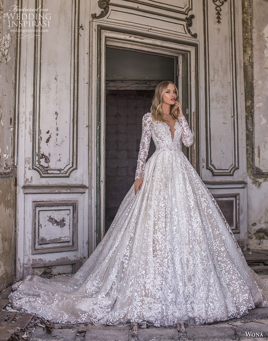 wona 2020 couture bridal long sleeves deep sweetheart neckline full embellishment glamorous princess ball gown a line wedding dress covered back chapel train (3) mv