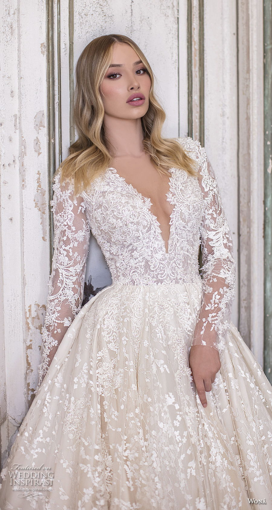 wona 2020 couture bridal long sleeves deep sweetheart neckline full embellishment glamorous princess ball gown a  line wedding dress covered back chapel train (3) zv