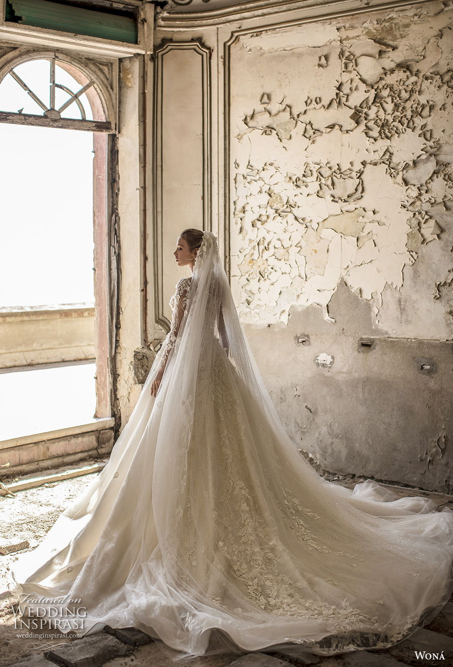 wona 2020 couture bridal long sleeves deep v neck heavily embellished bodice romantic princess a  line wedding dress chapel train (6) bv