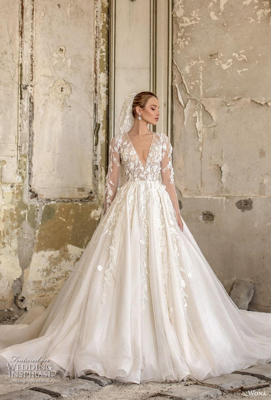 wona 2020 couture bridal long sleeves deep v neck heavily embellished bodice romantic princess a  line wedding dress chapel train (6) mv