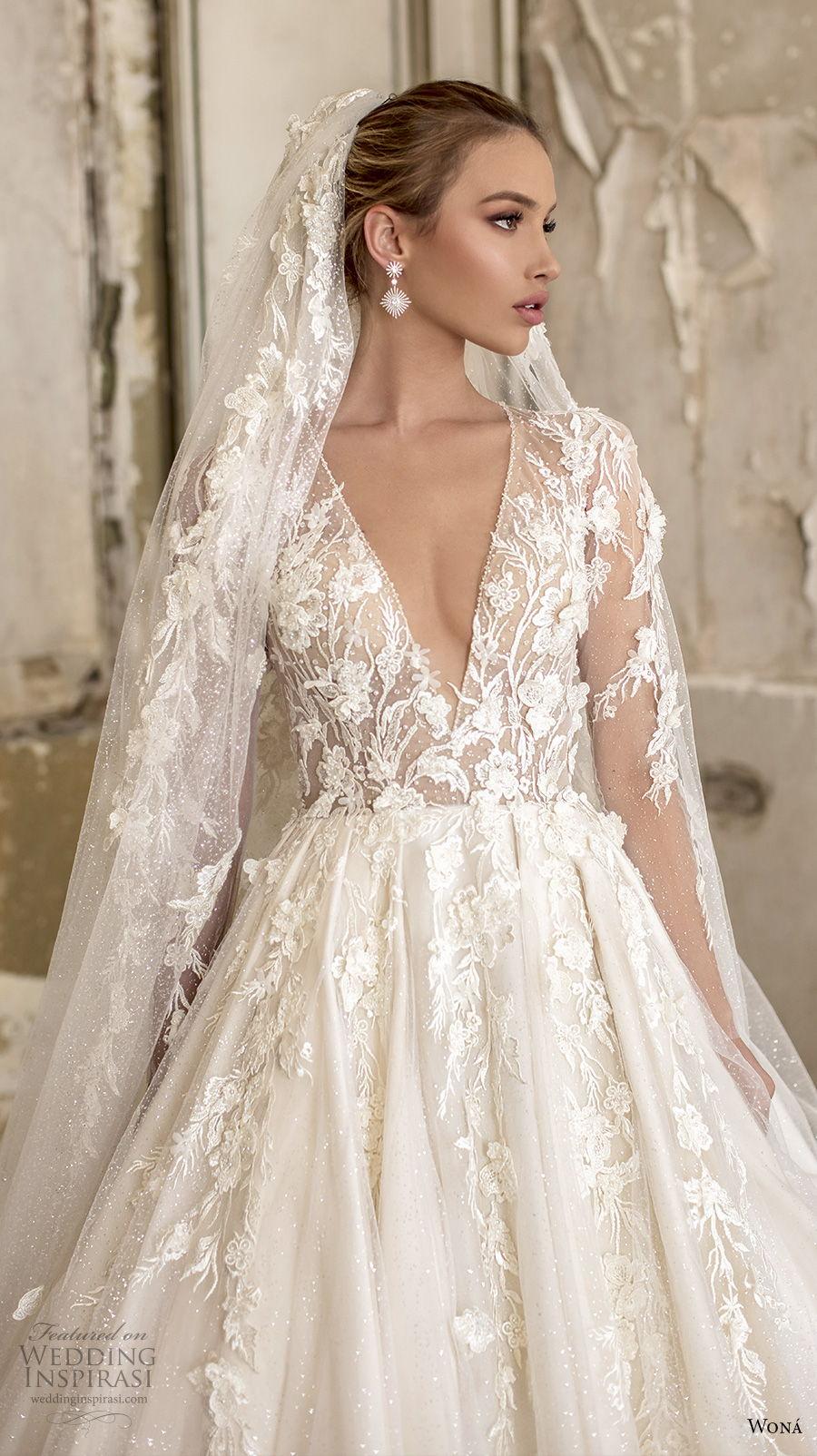 wona 2020 couture bridal long sleeves deep v neck heavily embellished bodice romantic princess a  line wedding dress chapel train (6) zv
