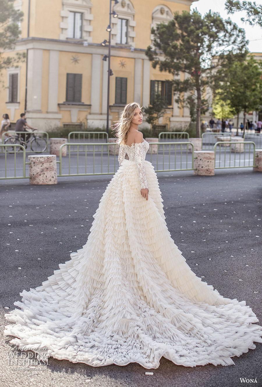 wona 2020 couture bridal long sleeves straight across neckline full embellishment elegant sheath wedding dress a  line overskirt mid back chapel train (5) bv