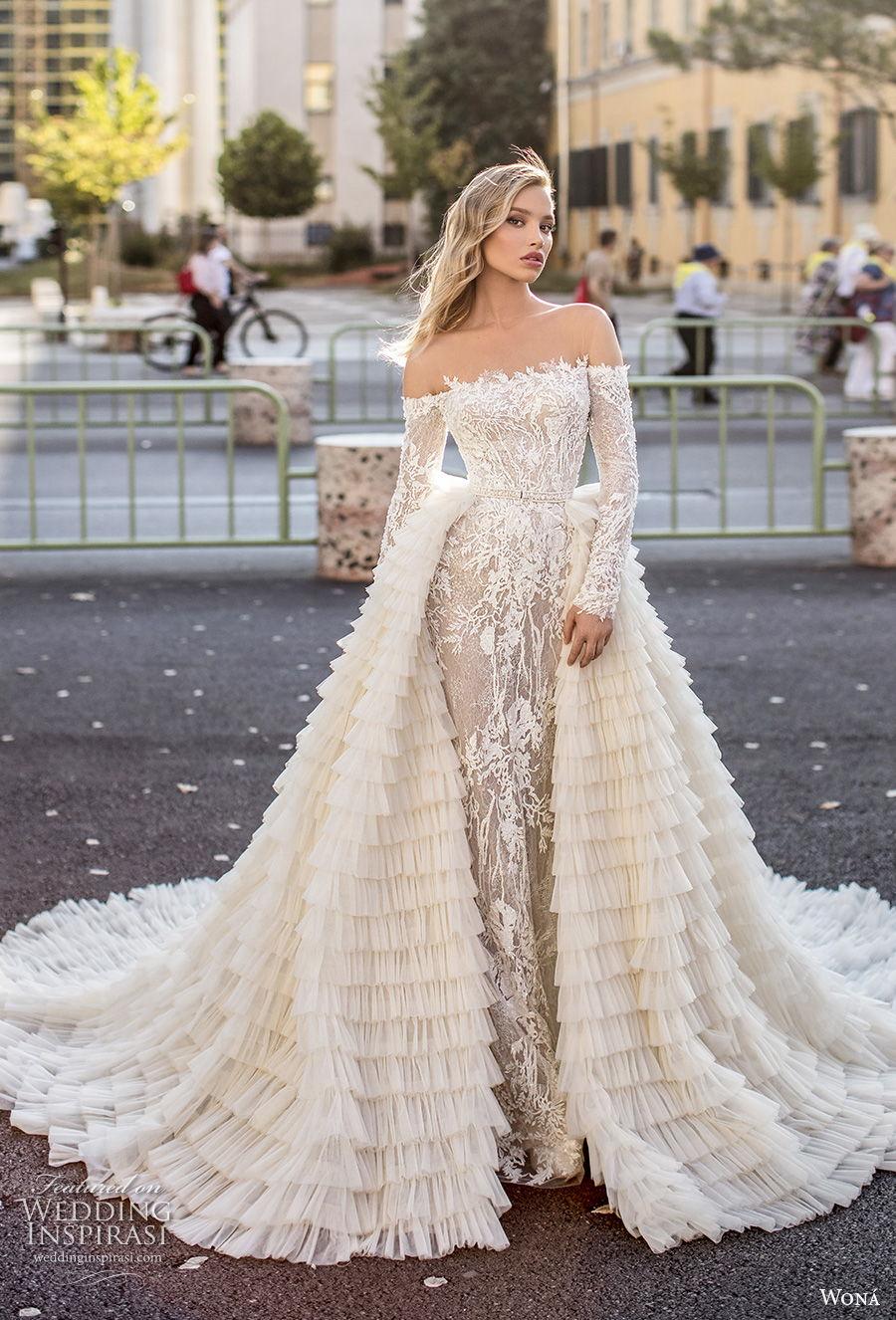 wona 2020 couture bridal long sleeves straight across neckline full embellishment elegant sheath wedding dress a  line overskirt mid back chapel train (5) mv