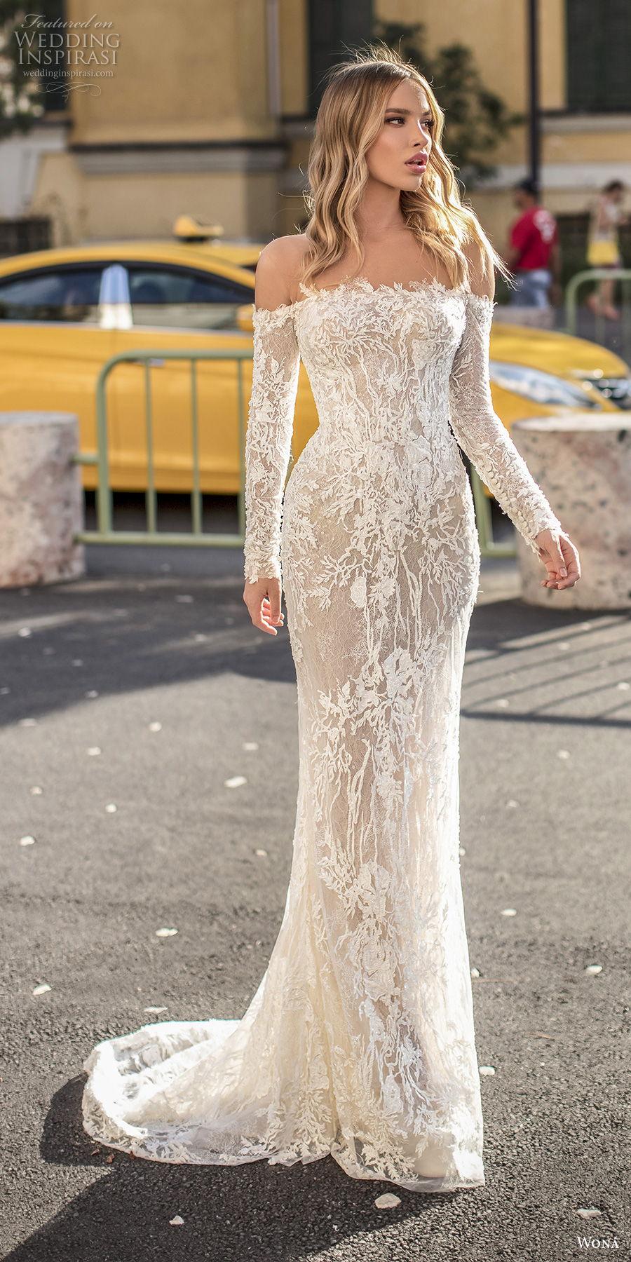 wona 2020 couture bridal long sleeves straight across neckline full embellishment elegant sheath wedding dress mid back short train (5) mv
