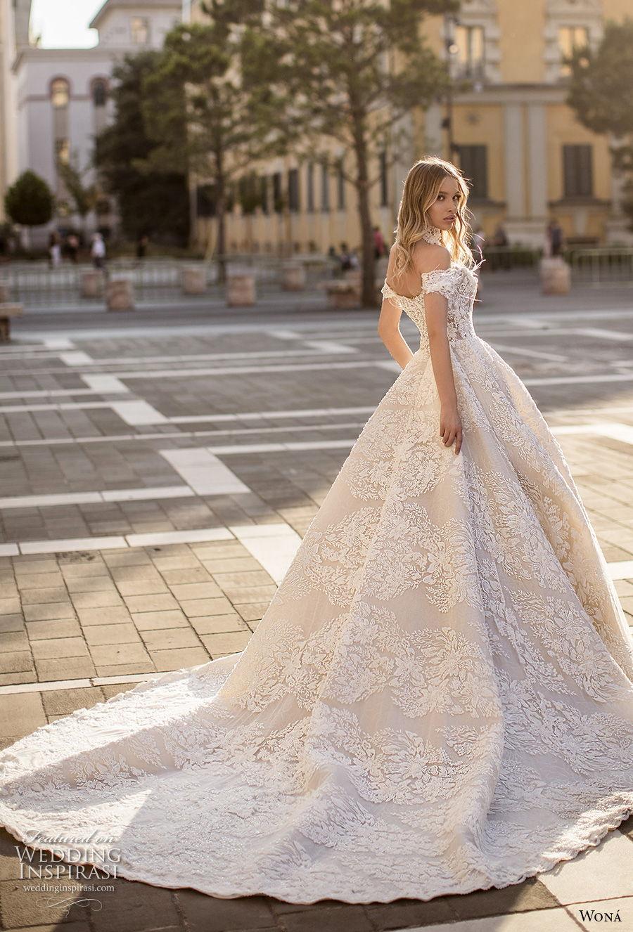 wona 2020 couture bridal off the shoulder semi sweetheart neckline full embellishment princess romantic ball gown a  line wedding dress mid back chapel train (4) bv