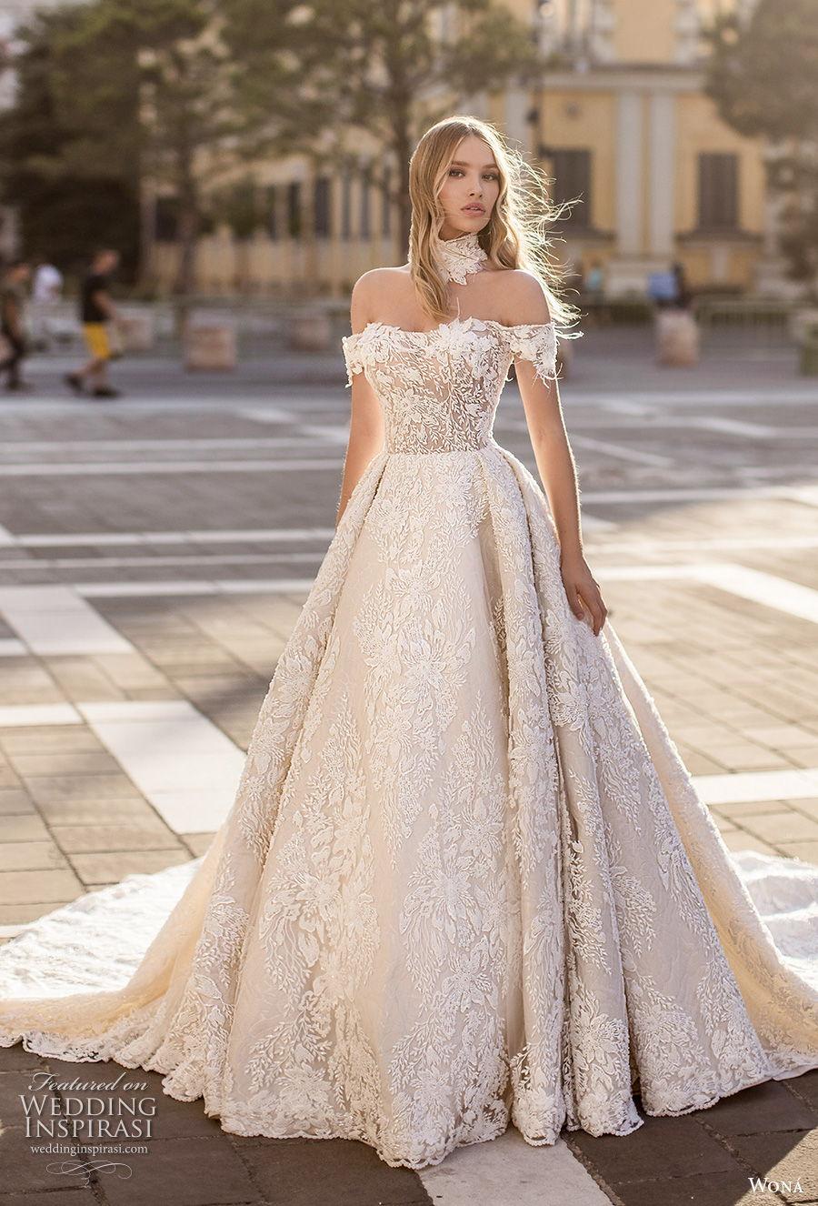wona 2020 couture bridal off the shoulder semi sweetheart neckline full embellishment princess romantic ball gown a  line wedding dress mid back chapel train (4) mv