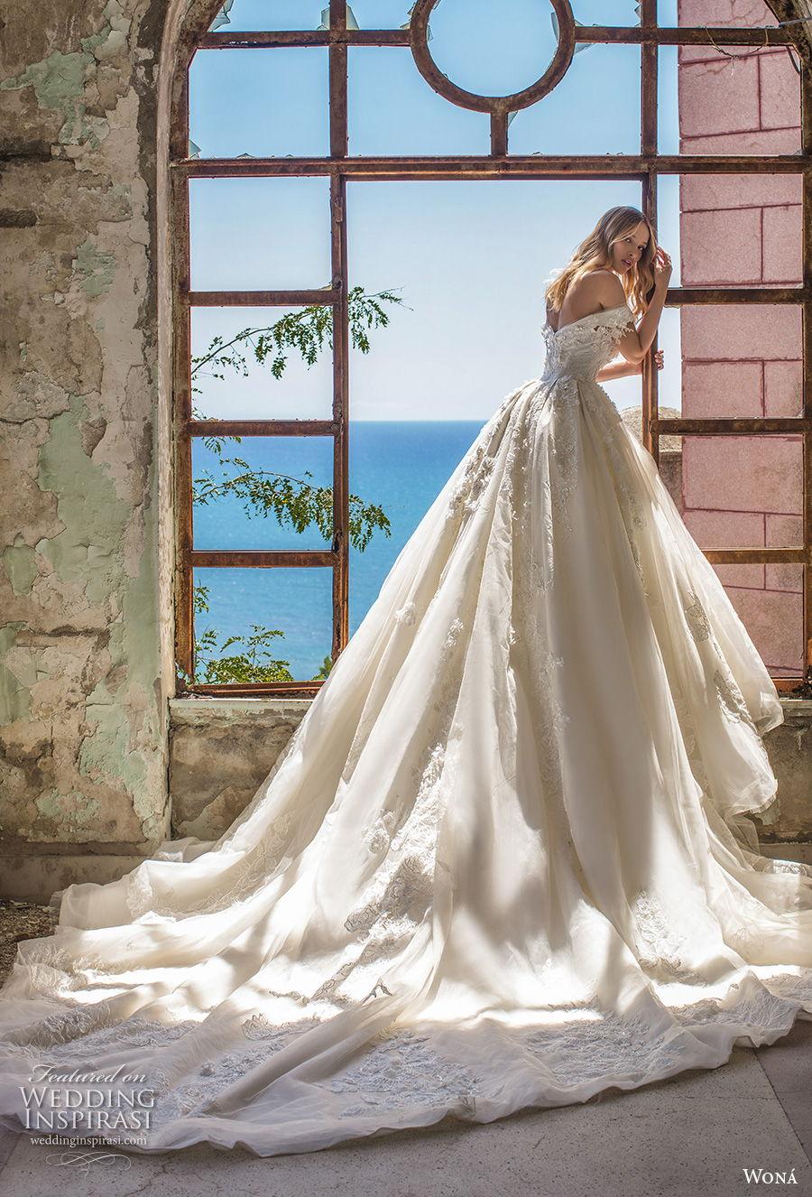wona 2020 couture bridal off the shoulder sweetheart neckline full embellishment princess a  line wedding dress mid back royal train (15) bv