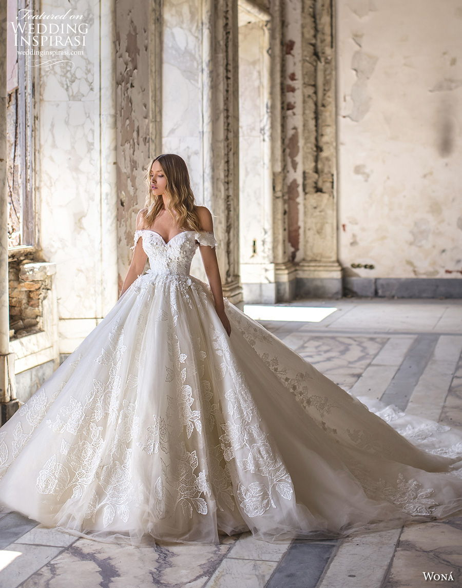 wona 2020 couture bridal off the shoulder sweetheart neckline full embellishment princess a  line wedding dress mid back royal train (15) mv