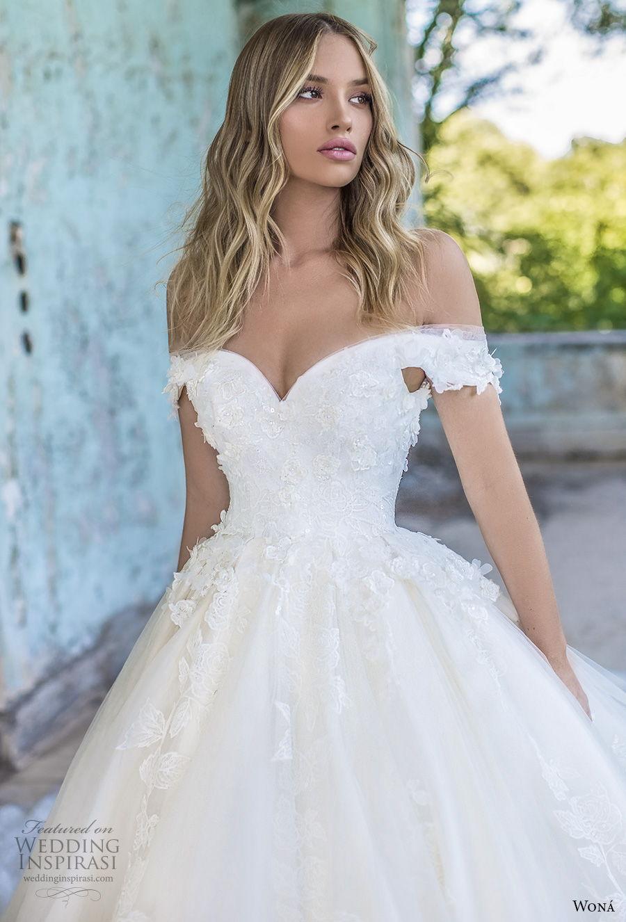 wona 2020 couture bridal off the shoulder sweetheart neckline full embellishment princess a  line wedding dress mid back royal train (15) zv