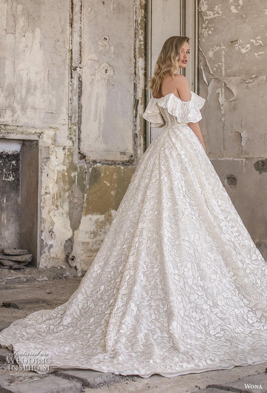 wona 2020 couture bridal off the shoulder sweetheart neckline full embellishment romantic a  line wedding dress mid back chapel train (7) bv