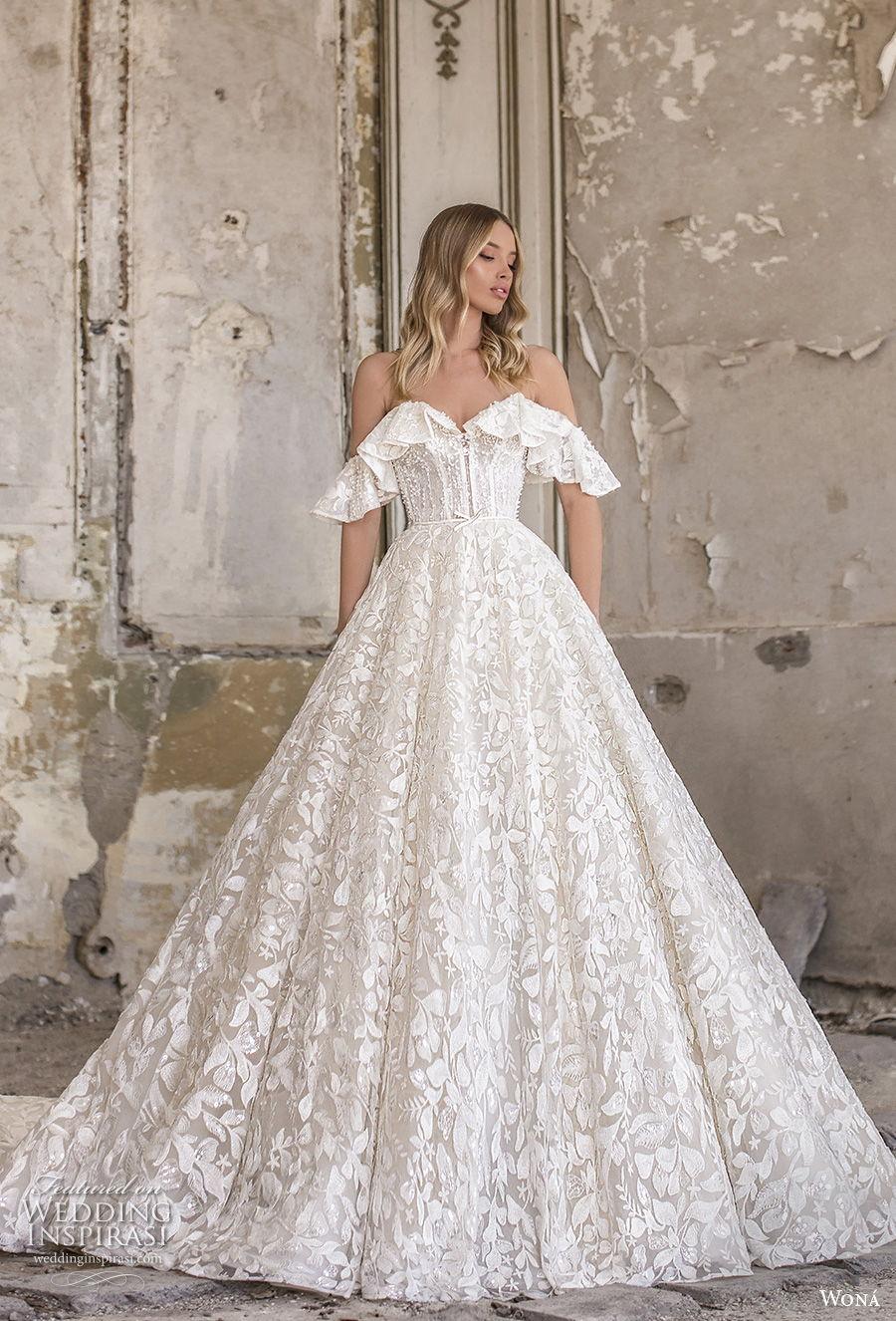 wona 2020 couture bridal off the shoulder sweetheart neckline full embellishment romantic a  line wedding dress mid back chapel train (7) mv