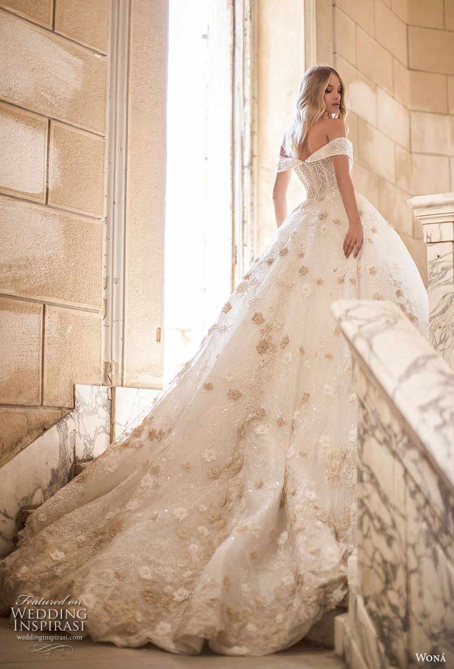 wona 2020 couture bridal off the shoulder sweetheart neckline full embellishment romantic princess ball gown a  line wedding dress mid back royal train (1) bv mv