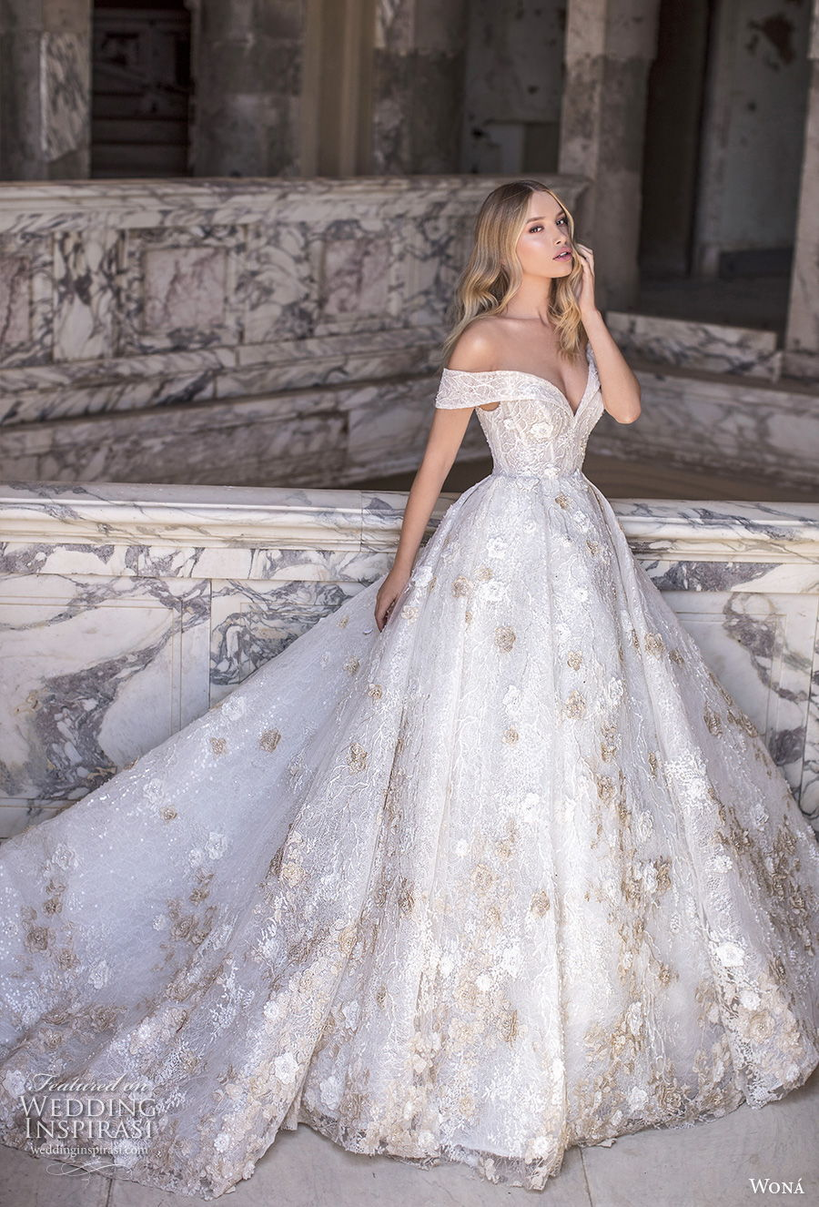 wona 2020 couture bridal off the shoulder sweetheart neckline full embellishment romantic princess ball gown a  line wedding dress mid back royal train (1) fv