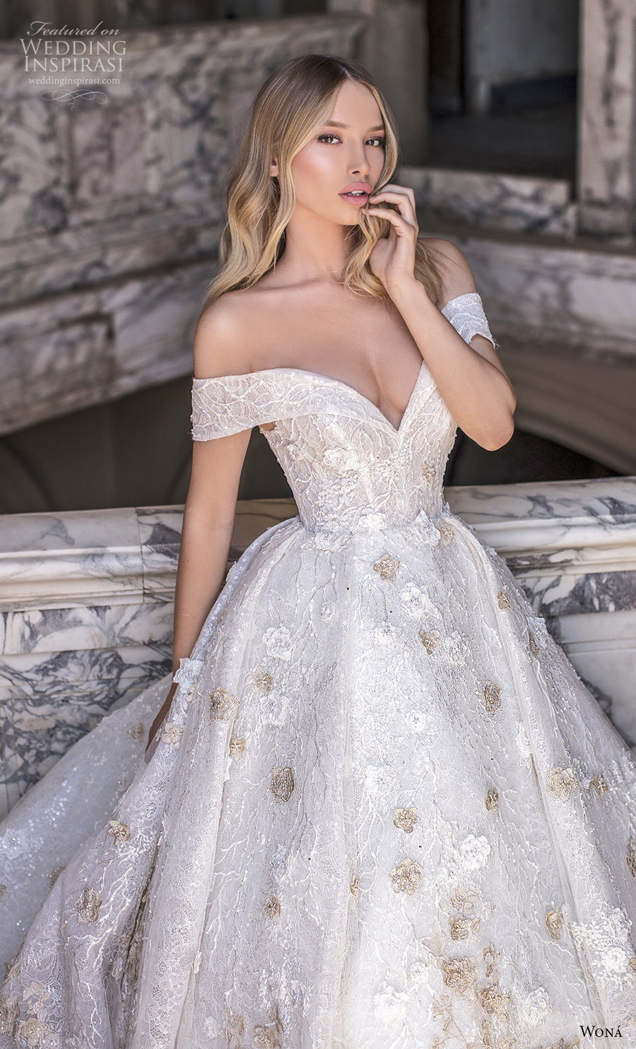 wona 2020 couture bridal off the shoulder sweetheart neckline full embellishment romantic princess ball gown a  line wedding dress mid back royal train (1) zv