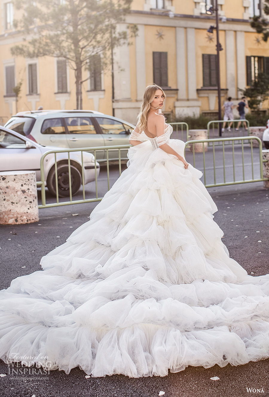 wona 2020 couture bridal off the shoulder sweetheart neckline heavily embellished bodice bustier tiered skirt romantic princess ball gown wedding dress mid back royal train (19) bv