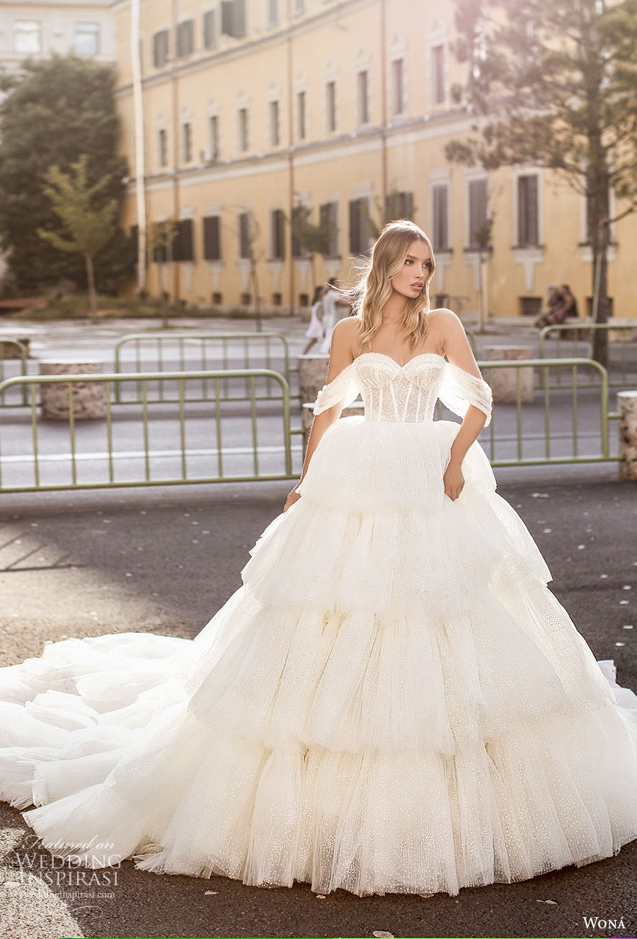 wona 2020 couture bridal off the shoulder sweetheart neckline heavily embellished bodice bustier tiered skirt romantic princess ball gown wedding dress mid back royal train (19) mv