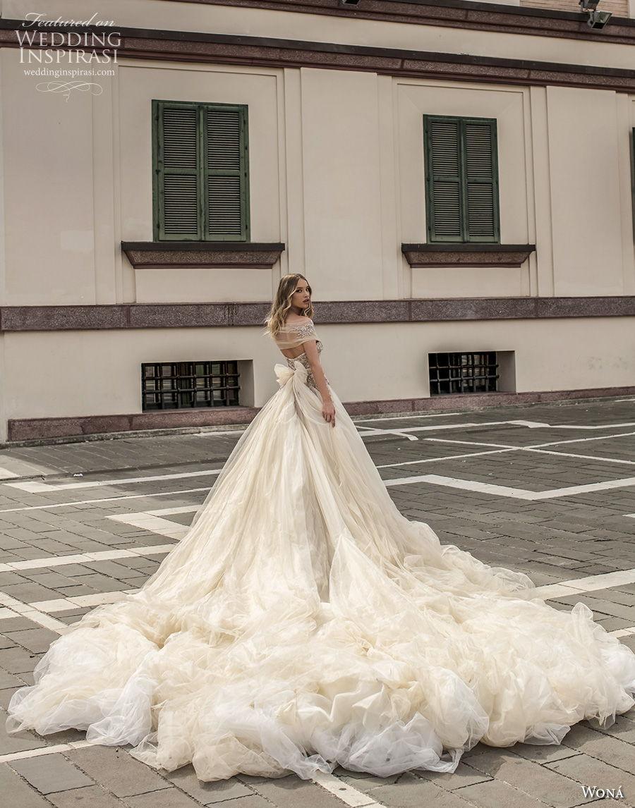 wona 2020 couture bridal off the shoulder v neck wrap heavily embellished bodice romantic fairytale a  line wedding dress royal train (9) bv