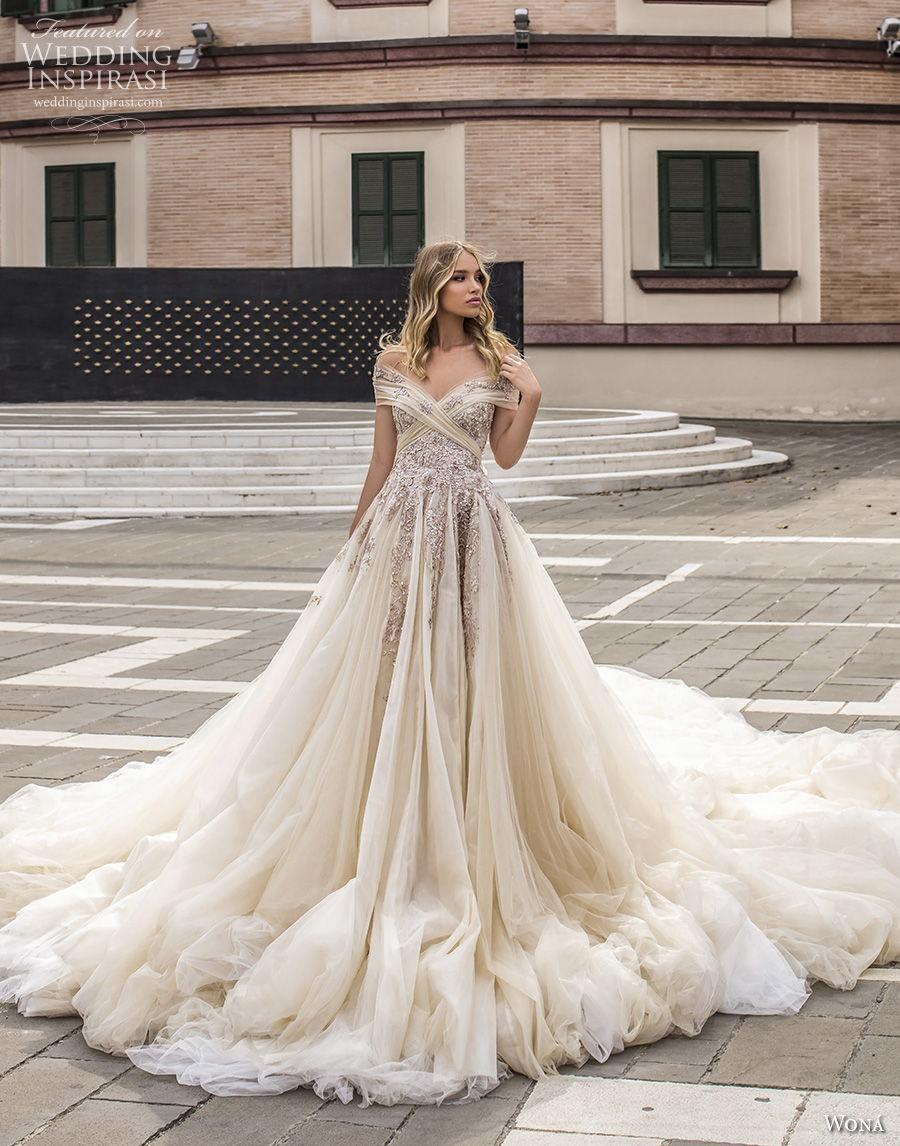 wona 2020 couture bridal off the shoulder v neck wrap heavily embellished bodice romantic fairytale a  line wedding dress royal train (9) mv