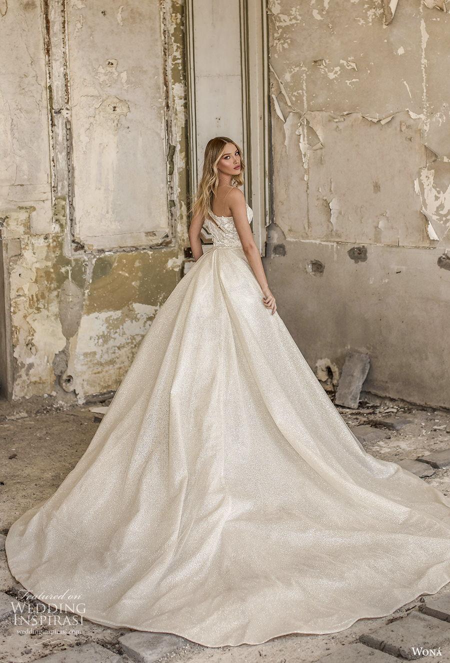 wona 2020 couture bridal one shoulder heavily embellished bodice elegant fit and flare sheath wedding dress a  line overskirt mid back short train (16) bv