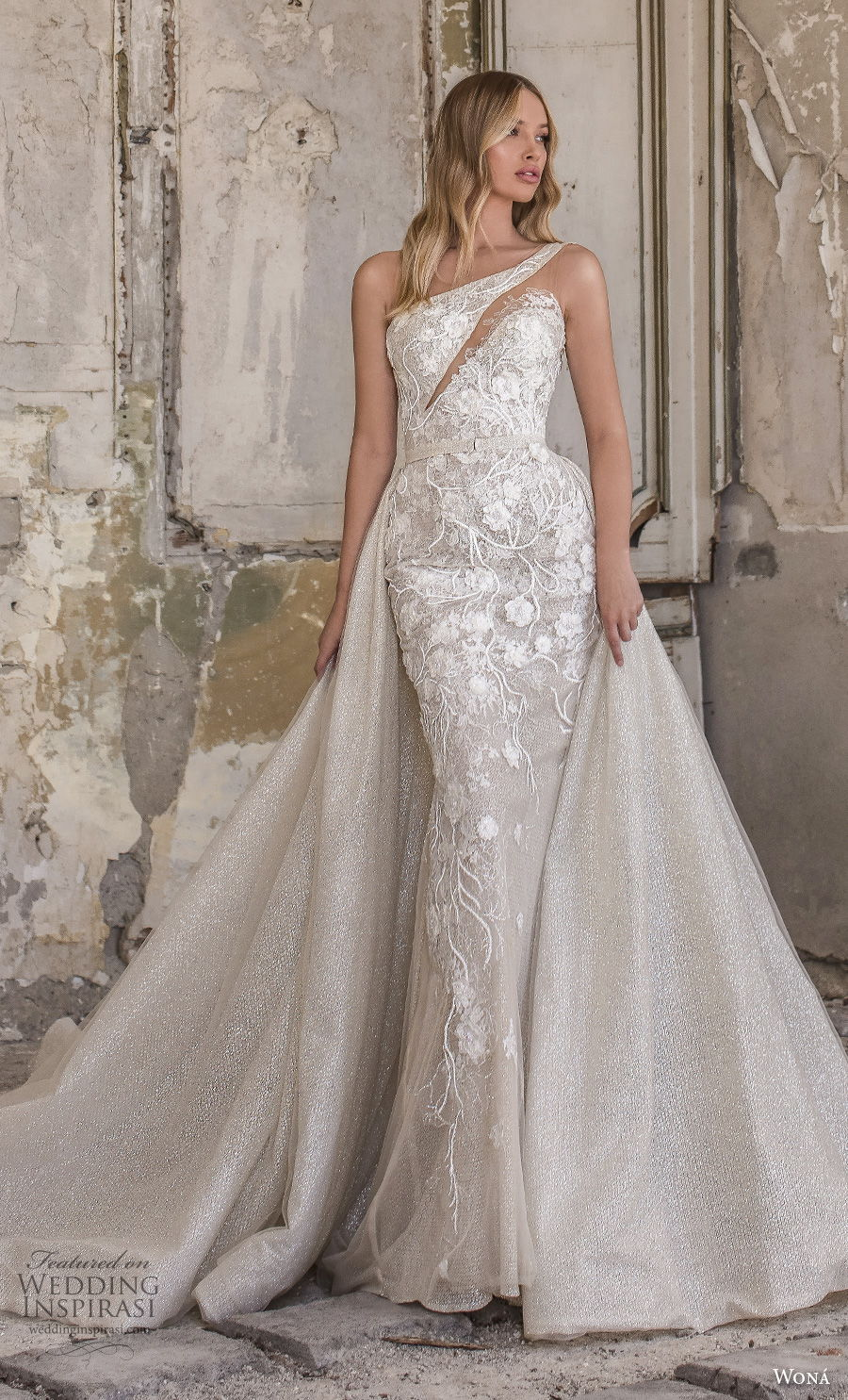 wona 2020 couture bridal one shoulder heavily embellished bodice elegant fit and flare sheath wedding dress a  line overskirt mid back short train (16) mv
