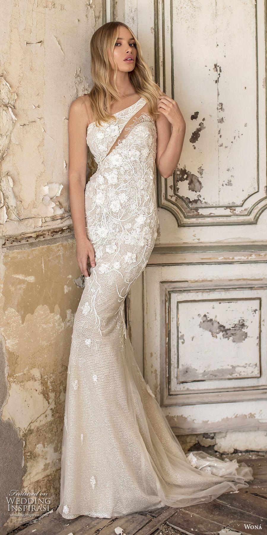 wona 2020 couture bridal one shoulder heavily embellished bodice elegant fit and flare sheath wedding dress mid back short train (16) mv