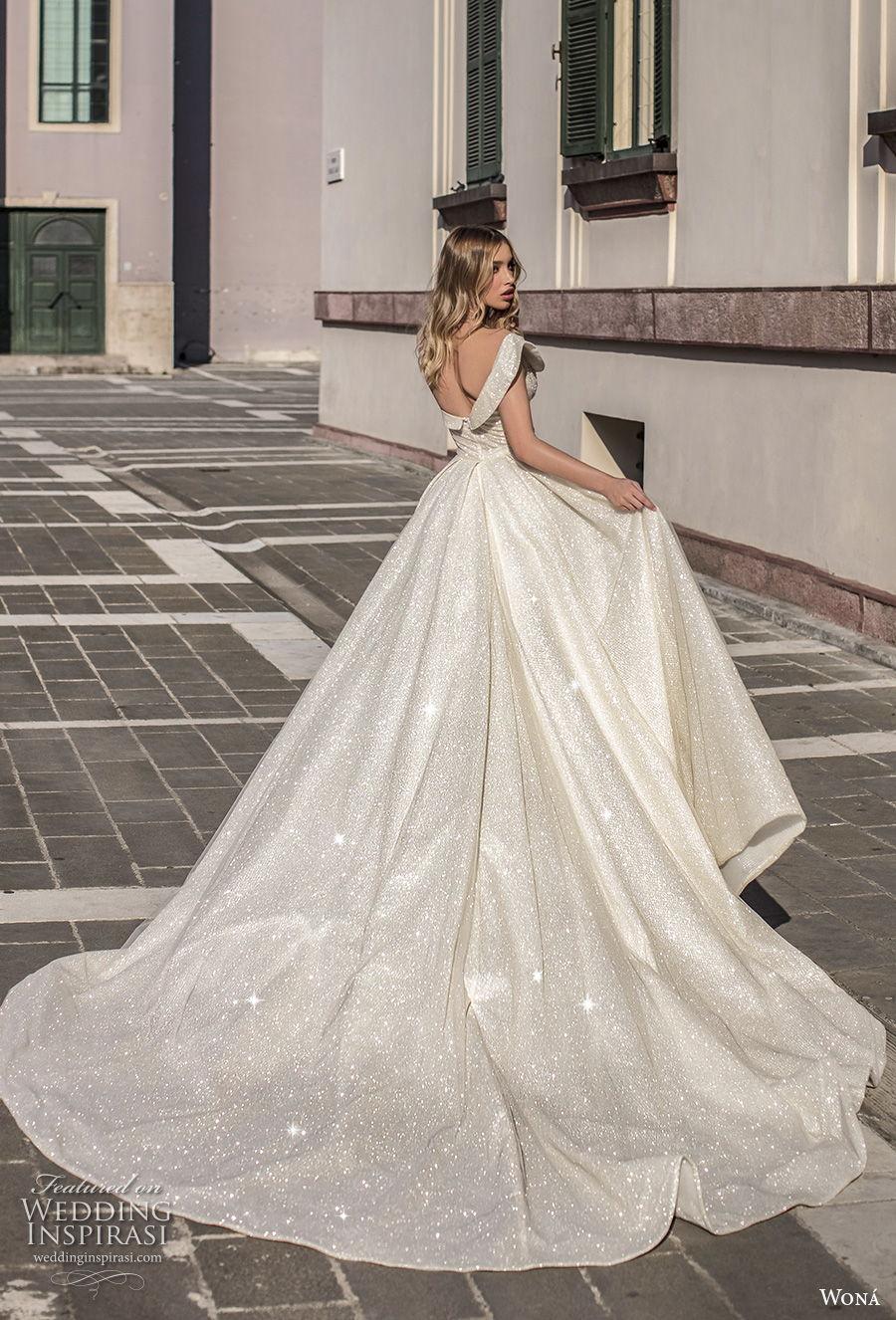 wona 2020 couture bridal one shoulder sweetheart neckline heavily embellished bodice slit skirt glamorous sheath wedding dress a  line overskirt backless chapel train (10) bv