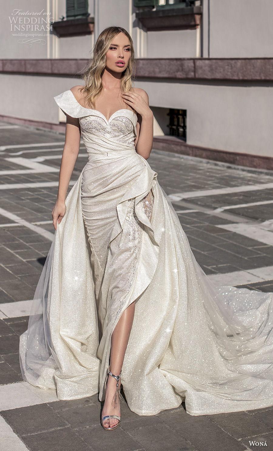 wona 2020 couture bridal one shoulder sweetheart neckline heavily embellished bodice slit skirt glamorous sheath wedding dress a line overskirt backless chapel train (10) mv