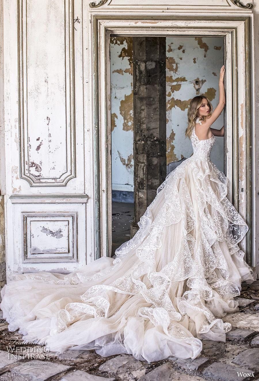 wona 2020 couture bridal sleeveless halter neck full embellishment romantic ruffled skirt romantic a  line wedding dress racer back royal train (13) bv