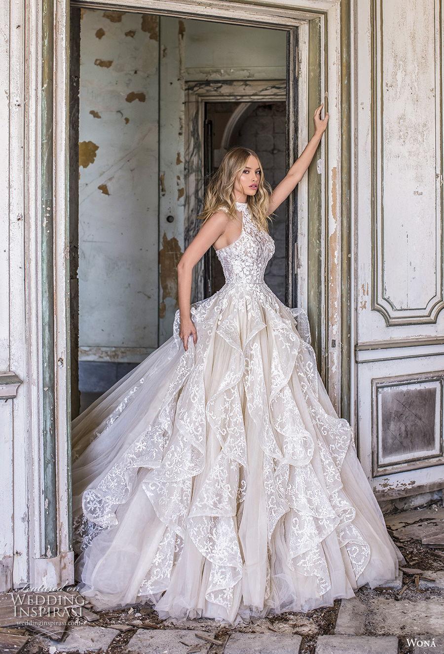 wona 2020 couture bridal sleeveless halter neck full embellishment romantic ruffled skirt romantic a  line wedding dress racer back royal train (13) mv