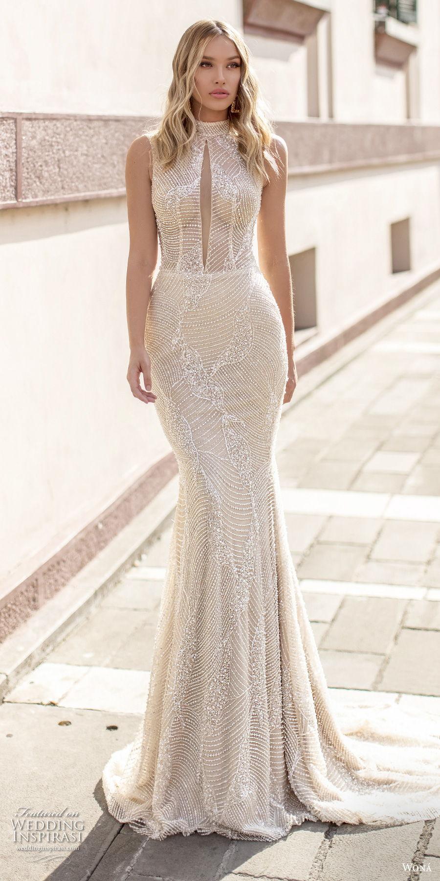 wona 2020 couture bridal sleeveless high neck slit bodice full embellishment elegant fit and flare wedding dress covered back medium train (17) mv
