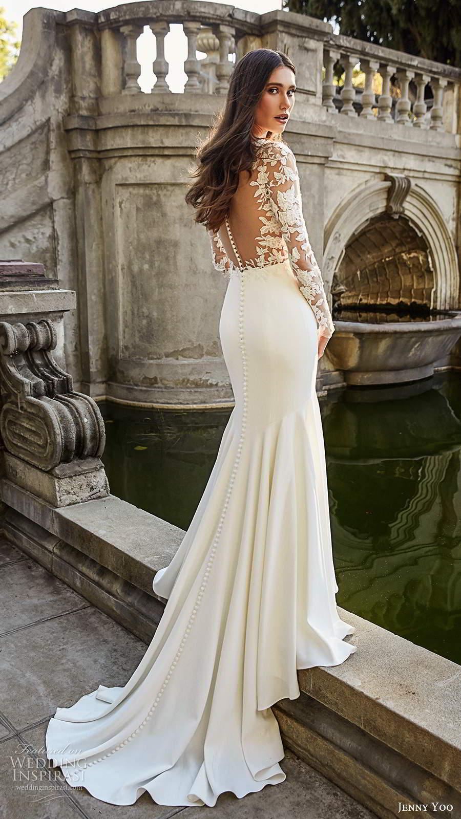 jenny yoo spring 2020 bridal illusion long sleeves plunging v neckline sheer embellished bodice clean skirt fit flare mermaid wedding dress chapel train (8) bv