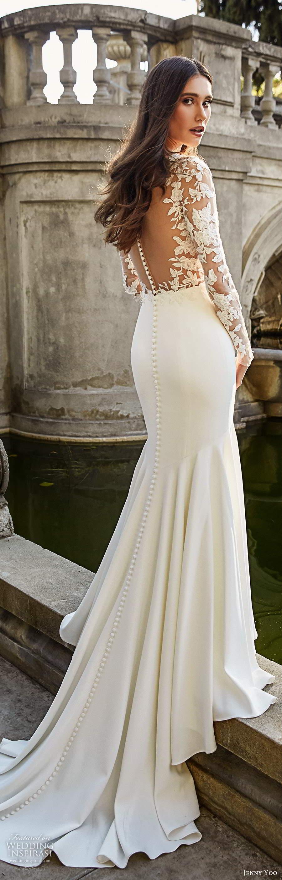 jenny yoo spring 2020 bridal illusion long sleeves plunging v neckline sheer embellished bodice clean skirt fit flare mermaid wedding dress chapel train (8) lbv