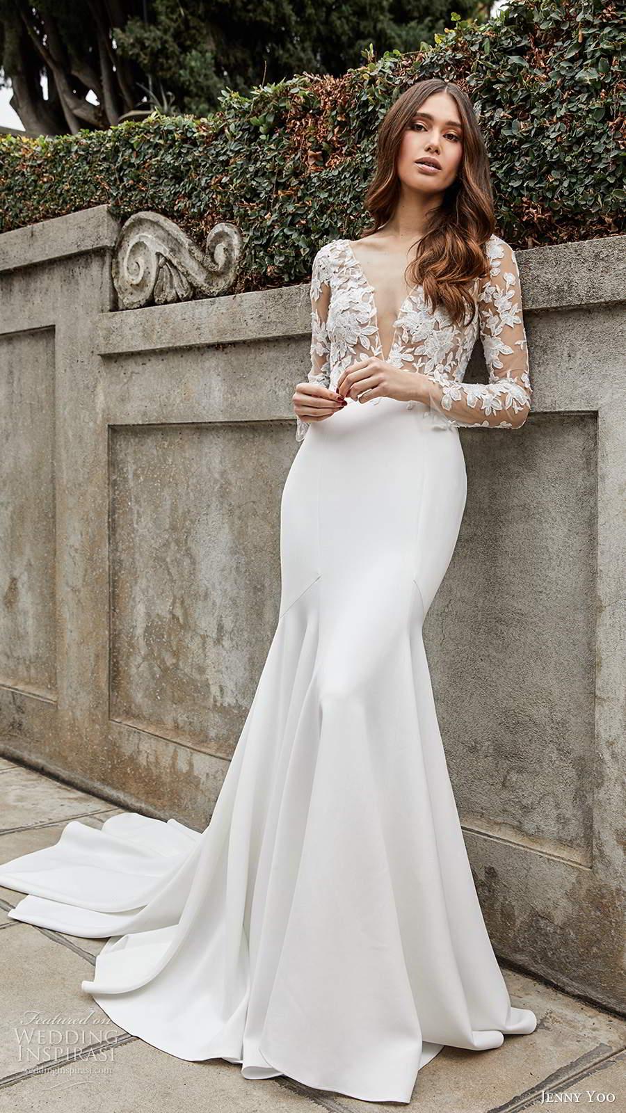 jenny yoo spring 2020 bridal illusion long sleeves plunging v neckline sheer embellished bodice clean skirt fit flare mermaid wedding dress chapel train (8) mv