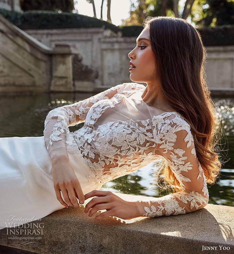 jenny yoo spring 2020 bridal illusion long sleeves plunging v neckline sheer embellished bodice clean skirt fit flare mermaid wedding dress chapel train (8) zsv