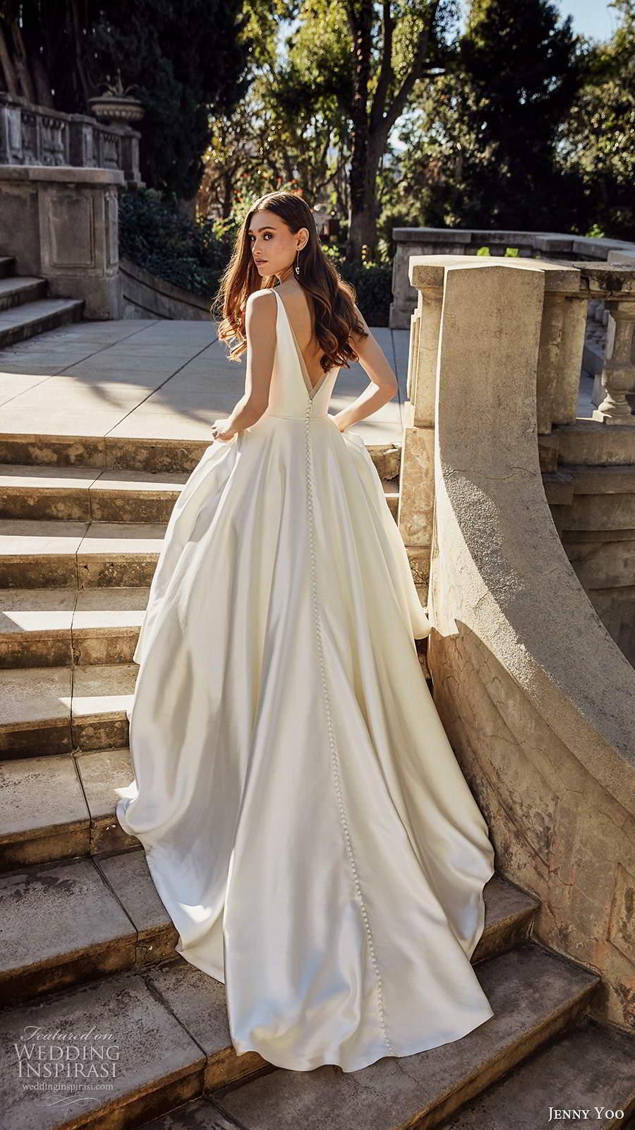 jenny yoo spring 2020 bridal sleeeless straps v neckline minimalist clean a line ball gown wedding dress v back chapel train (5) bv