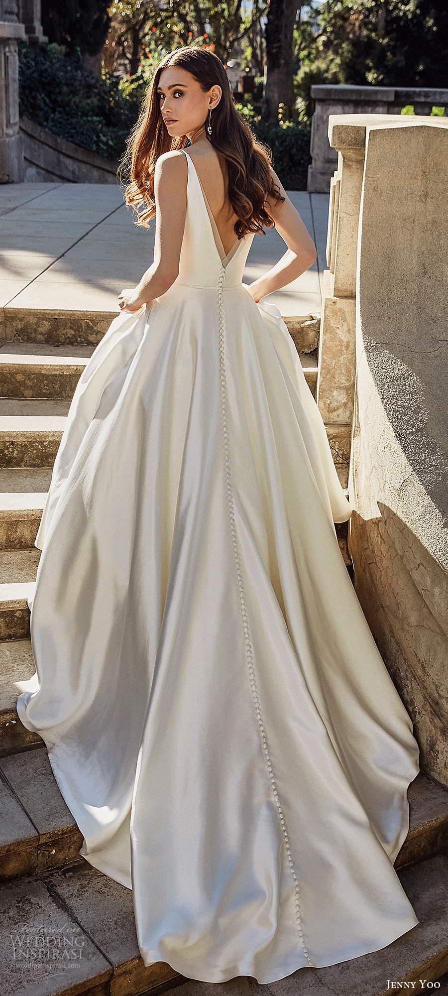 jenny yoo spring 2020 bridal sleeeless straps v neckline minimalist clean a line ball gown wedding dress v back chapel train (5) lbv