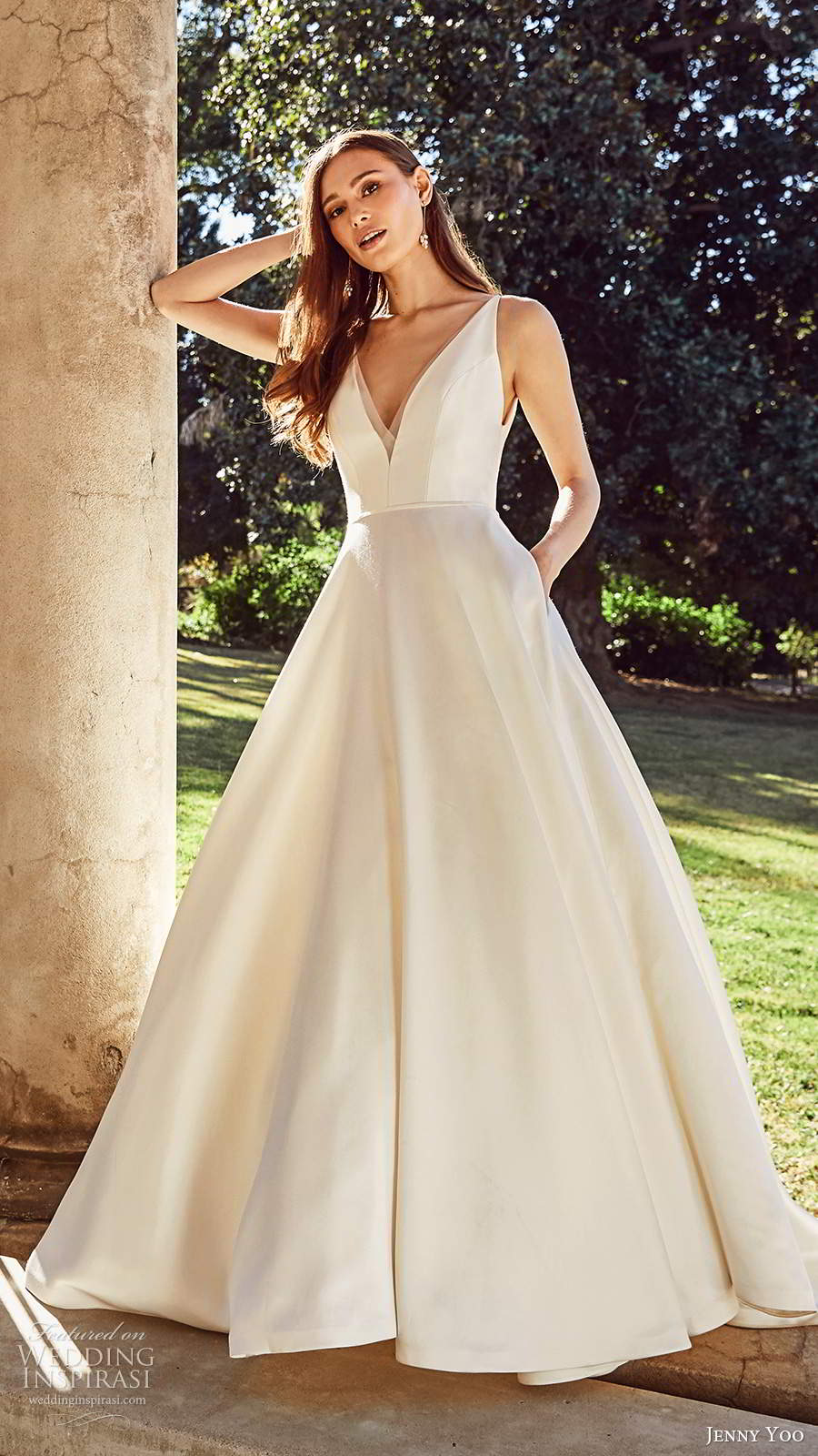 jenny yoo spring 2020 bridal sleeeless straps v neckline minimalist clean a line ball gown wedding dress v back chapel train (5) mv